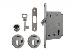 Zamek do drzwi przesuwnych + uchwyty okrągłe z kluczykiem łamanym chrom