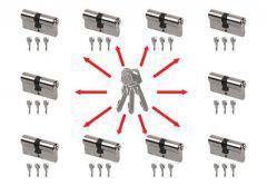 System master key na bazie wkładek Lob Comfort Plus (10 wkładek 30/30, po 3 klucze indywidualne , 3 klucze master- łacznie 33 sztuki) nikiel