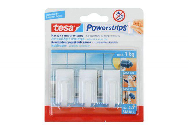 Haczyk samoprzylepny Tesa Powerstrips (57530) do wieszania obrazków, nośność do 1 kg, prostokątny (3 szt.)