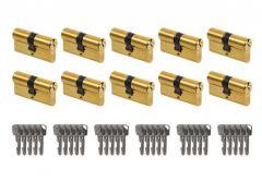 System wkładek LOB Ares otwieranych wspólnym kluczem - na 1 klucz (10 wkładek 30/30, łącznie 30 kluczy), mosiądz