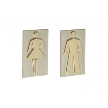 Oznaczenie toalety samoprzylepne -POSTAĆ 8,5 cm oliwka - plakietka