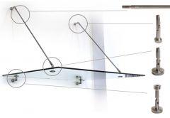 Okucia nierdzewne do zabudowy daszka szklanego, komplet na 2 odciągi ASI304 SP GS/PR-R3