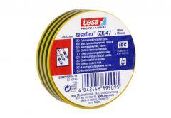 Taśma elektroizolacyjna 5000V PVC Tesa  zielono-żółta, długość 10 m, szerokość 15 mm (53947-00004-15)