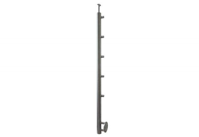 (3) Słupek boczny schodowy z 5 przelotkami fi 12,h=106cm,stal nierdzewna  AISI304 (A-BS100-5D12)