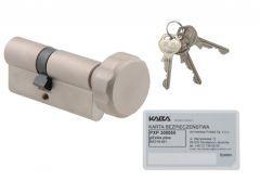Wkładka bębenkowa Kaba/Gege pExtra plus 30G/45 nikiel z gałką, atest kl. 6.2 C