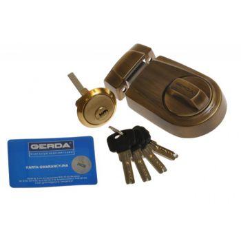 Zamek wierzchni ZG200S mosiądz antyczny 4 klucze nawiercane
