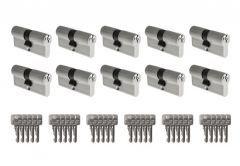 System wkładek B-Harko H6 otwieranych wspólnym kluczem - na 1 klucz (10 wkładek 30/30, łącznie 30 kluczy), nikiel