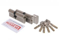Komplet wkładek HUSAR S8 35/30 + 35G/30, nikiel satyna, kl.C, 6 kluczy