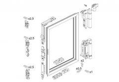 Zestaw podstawowy okuć Master R/U WEEN do okien aluminiowych, srebrny ( max. 160 kg)