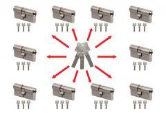 System master key na bazie wkładek Winkhaus N-tra (10 wkładek 30/30, po 3 klucze indywidualne , 3 klucze master- łacznie 33 sztuki) nikiel