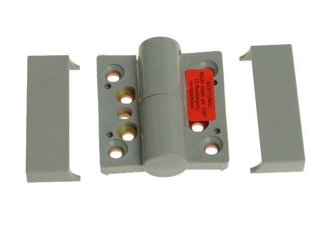 Zawias łazienkowy sprężynowy z regulacją naciągu 24/28 DL-lewy szary