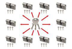 System master key na bazie wkładek Gege Ap1500 (10 wkładek 30/30, po 3 klucze indywidualne , 3 klucze master- łacznie 33 sztuki) nikiel