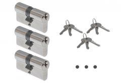 Wkładka ABUS E45N 30/30 nikiel KA01 w systemie 1-go klucza 3 klucze