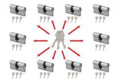 System master key na bazie wkładek Wilka STR  (10 wkładek 30/30, po 3 klucze indywidualne , 3 klucze master- łacznie 33 sztuki) nikiel