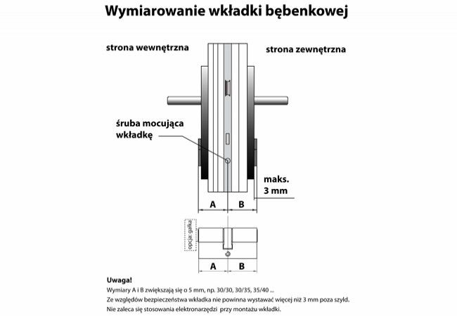 Wkładka bębenkowa B-Harko H6 35/35 mm nikiel satyna 6-zastawkowa kl.6.0