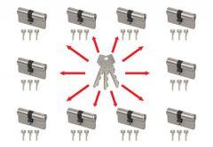 System master key na bazie wkładek Abus Zolit 1000 (10 wkładek 30/30, po 3 klucze indywidualne , 3 klucze master- łacznie 33 sztuki) nikiel