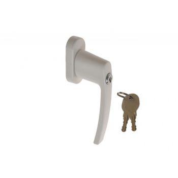 Klameczka okienna biała z kluczykiem L-35 mm HR001(blokada w pozycji zamkniętej)