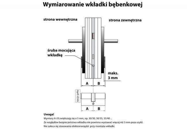 Wkładka bębenkowa atestowana HUSAR S8 30/45 z zębatką nikiel satyna kl. C, 6 kluczy