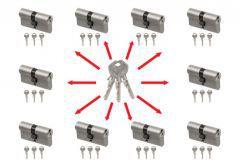 System master key na bazie wkładek Gege pExtra Plus (10 wkładek 30/30, po 3 klucze indywidualne , 3 klucze master- łacznie 33 sztuki) nikiel