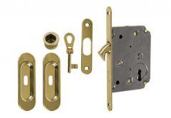 Zamek do drzwi przesuwnych + uchwyty podł. z kluczykiem łamanym złoty