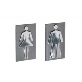 Oznaczenie toalety samoprzylepne -POSTAĆ 8,5 cm grafit - plakietka