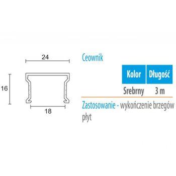 Profil WC 01 Ceownik (gr. płyty 18 mm ) -3m aluminium anoda