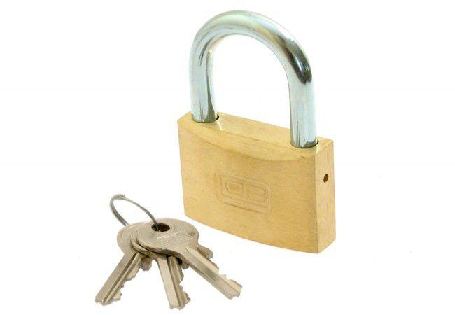 Kłódka LOB mosiężna zasuwkowa KM 40 klucz mały 3 szt.