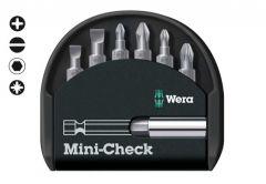 Zestaw grotów WERA Mini-Check  ( 2 płaskie uchwyty magnetyczne i 2 groty: PH 1,2, PZ 1,2)