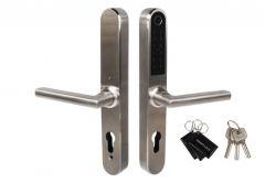 Klamka elektroniczna BH-31B, rozstaw 72 WB mm, szyld wąski 280x38 mm, stal nierdzewna (odcisk palca+aplikacja+Bluetooth+karta+PIN)
