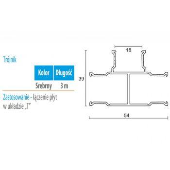 Profil WC 03 trójnik (gr. płyty 18 mm ) -3m aluminium anoda
