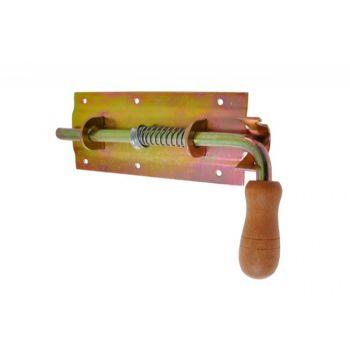 Zasuwa sprężynowa 250 ocynk z drewnianą rączką