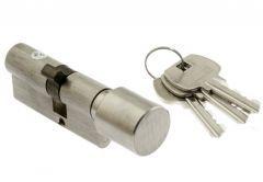 Wkładka DoorTech Impact Line 45/35mm z gałką nikiel satyna