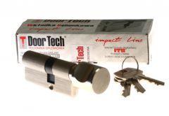 Wkładka DoorTech Impact Line 50/35mm z gałką nikiel satyna